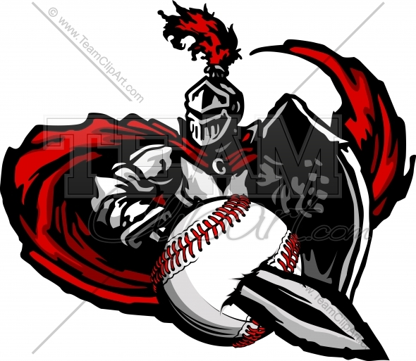 590x513 Knight Baseball Mascot Vector Image