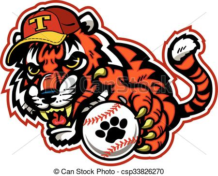 450x364 Tiger Baseball Team Design With Mascot For College, School