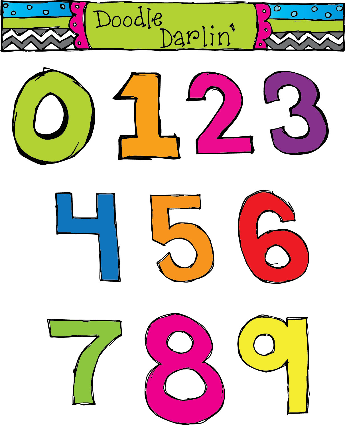 1210x1492 Basic Numbers Clipart Set Instant Download
