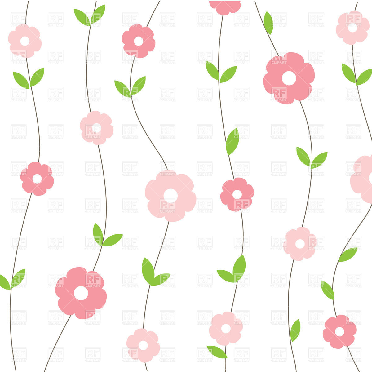1200x1200 Floral Seamless Background With Cartoon Simple Flowers Royalty