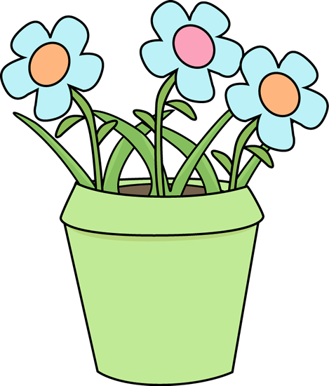 469x550 Flower Pot With Blue Flowers Clip Art