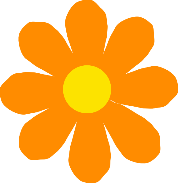 582x599 Bright Orange Flower Clip Art