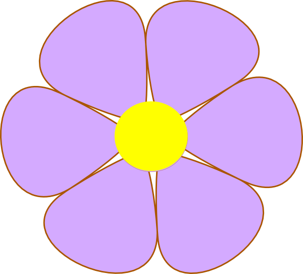 600x542 Purple Flower Clipart Simple Flower