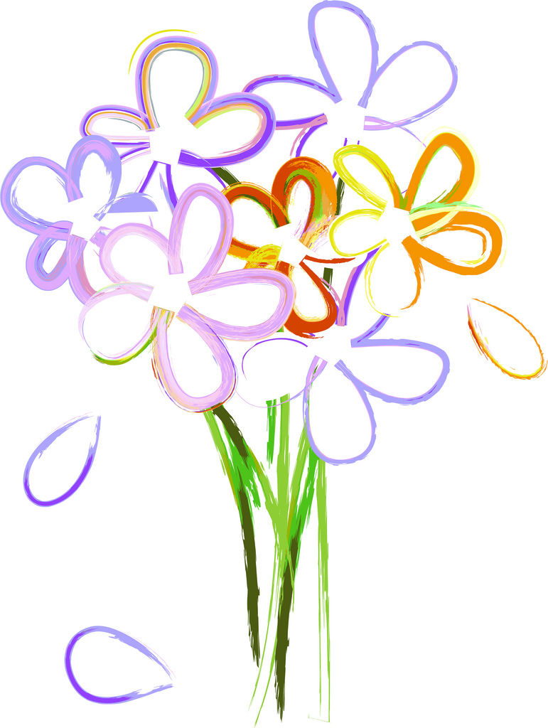 771x1024 Clip Art Illustration Of A Simple Bouquet Of Watercolor