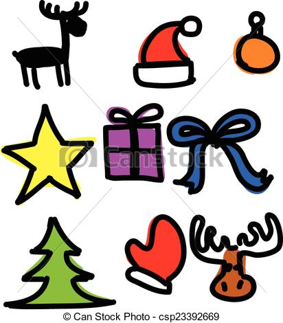412x470 Christmas Objects Collection Cartoon Simple Shapes . Clip Art
