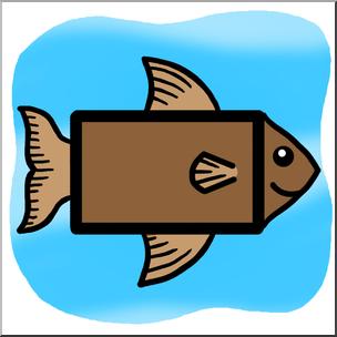 304x304 Clip Art Basic Shapes Fish Rectanglefish Color I