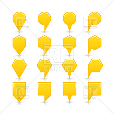 400x400 Yellow Blank Map Markers With Heads Of Different Shapes Royalty
