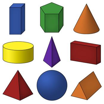 350x350 3d Shapes Clip Art Geometric Solids By Digital Classroom Clipart