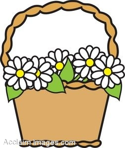 252x300 Clip Art Picture Of A Basket Of Daisies
