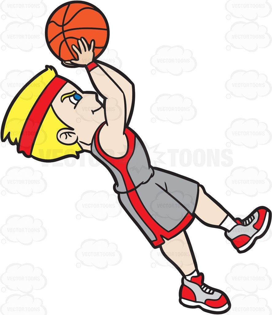 886x1024 A Male Basketball Player Doing A Fade Away Shot Cartoon Clipart