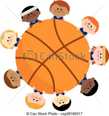 442x470 Basketball And Kids Team. Vector Illustration Of A Vector Clip