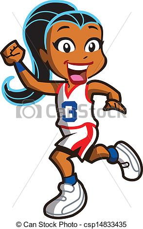 294x470 Smiling Ethnic Girl Basketball Player Running Down The Court.