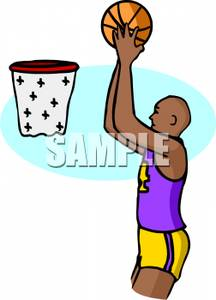 216x300 A Black Basketball Player Shooting Hoops Clipart Picture