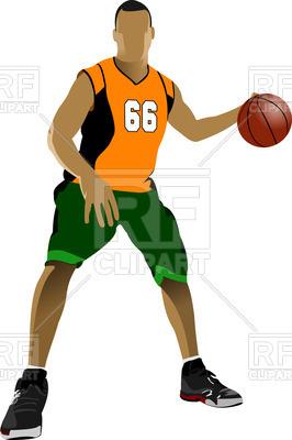 266x400 Basketball Player Dribbling Royalty Free Vector Clip Art Image