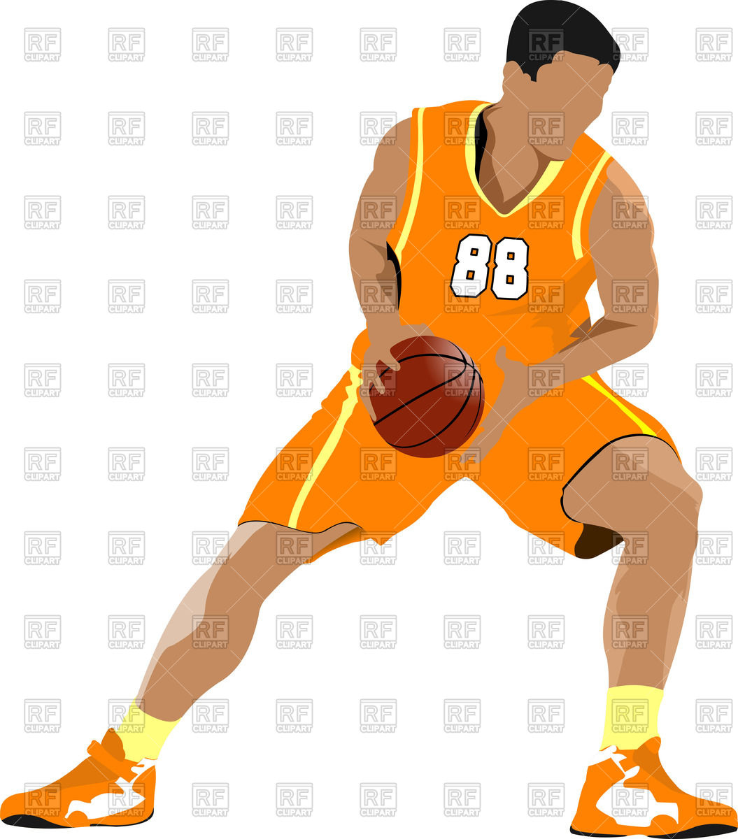 1055x1200 Basketball Player In Position Royalty Free Vector Clip Art Image