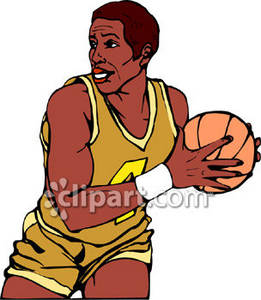 261x300 Clipart Image Of A Black Basketball Player Holding The Ball