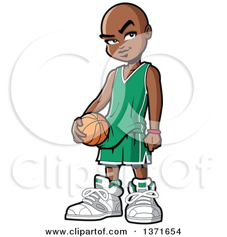 450x470 Clipart Of A Happy Black Boy Dribbling A Basketball