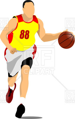 253x400 Silhouette Of Running Basketball Players With Ball Royalty Free