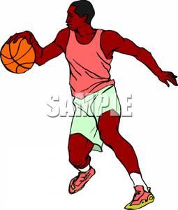 255x300 A Black Man Playing Basketball Clip Art Image