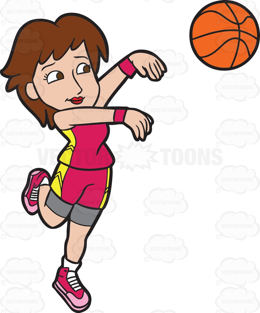 852x1024 A Female Basketball Player Goes For A Three Point Play Cartoon