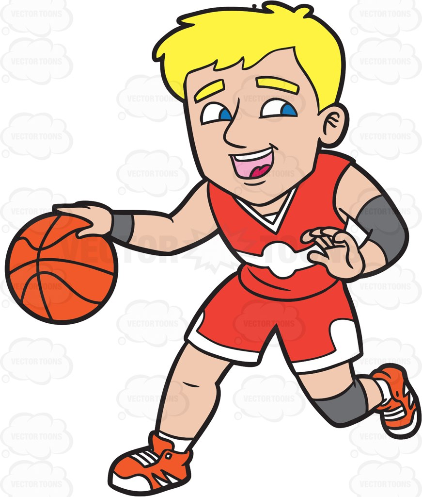 871x1024 A Happy Male Basketball Player Dribbling A Ball Cartoon Clipart