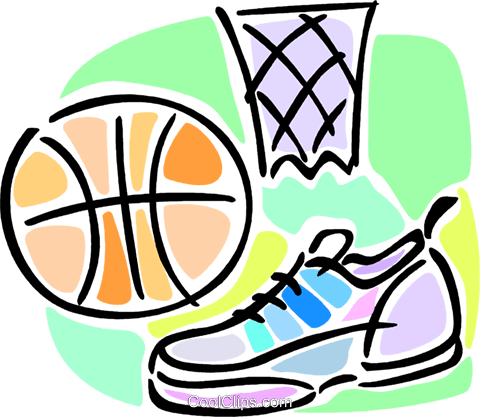 480x417 Basketball Shoes, Net And Ball Royalty Free Vector Clip Art