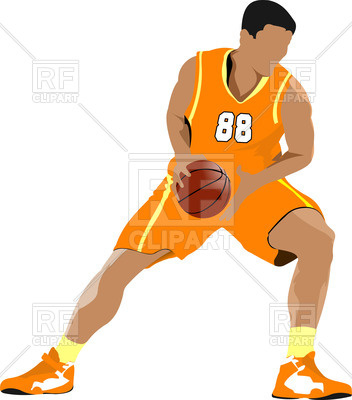 352x400 Basketball Player In Position Royalty Free Vector Clip Art Image