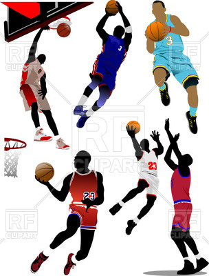 304x400 Basketball Players With Balls In Motion