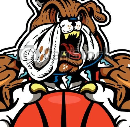 450x442 Clipart Vector Of Bulldog Basketball Mascot