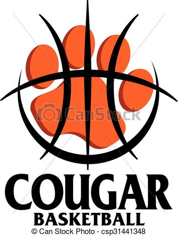 355x470 Cougar Basketball Team Design With Paw Print Inside Large Eps