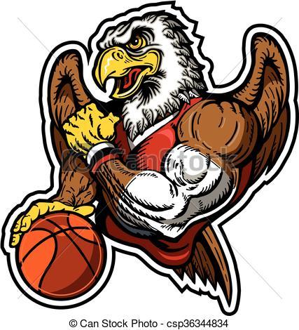 427x470 Muscular Eagle Basketball Player Team Design For School