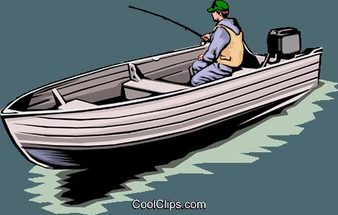 480x305 Fisherman In Boat Royalty Free Vector Clip Art Illustration