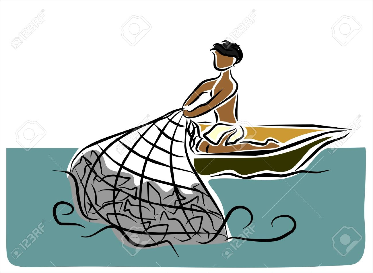 1300x952 Man Fishing In Boat Clipart