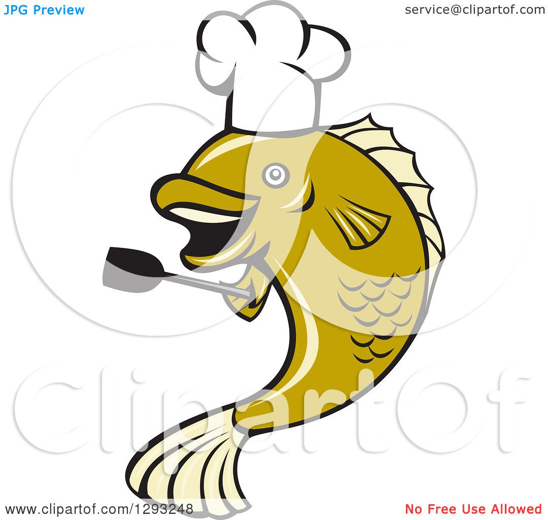 1080x1024 Clipart Of A Cartoon Chef Largemouth Bass Fish Holding A Spatula