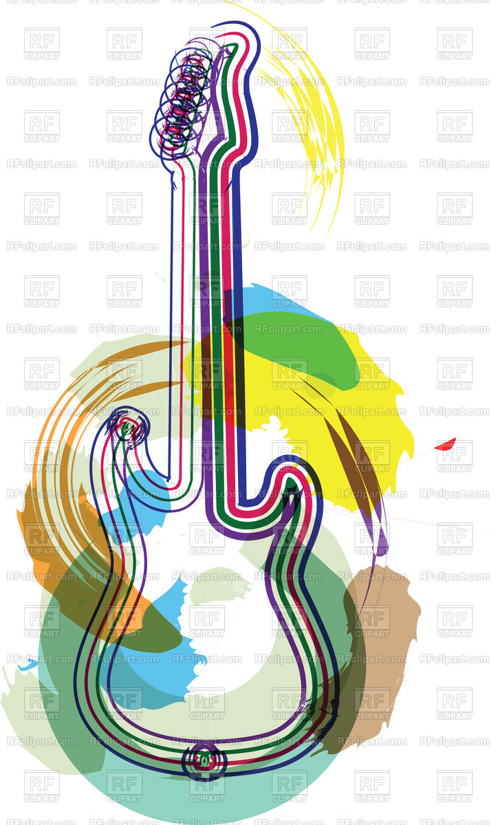 721x1200 Guitar Music Instrument Abstract Illustration Royalty Free Vector