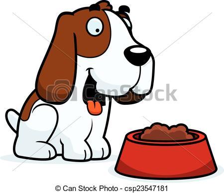 450x387 Cartoon Basset Hound Food. A Cartoon Illustration Of A Vector