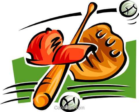 480x385 Bat, Ball, Glove And Hat Royalty Free Vector Clip Art Illustration
