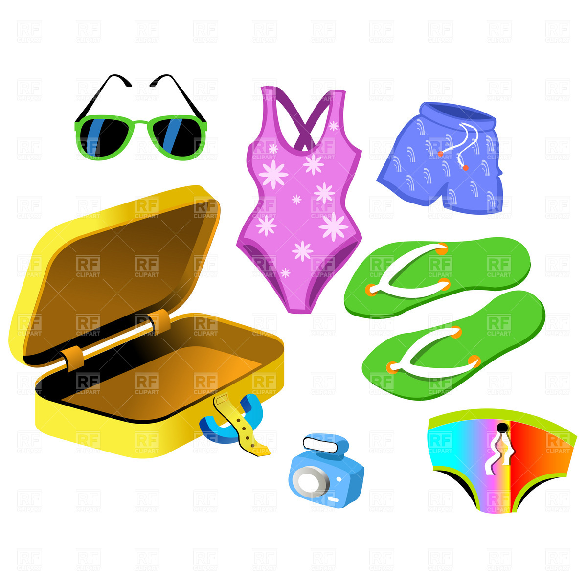1200x1200 Swimsuit And Suitcase Royalty Free Vector Clip Art Image