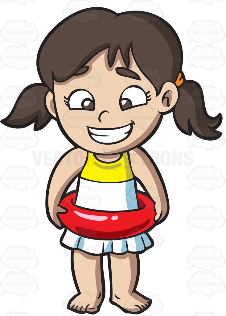 733x1024 A Girl Wearing A Float Ring Cartoon Clipart Vector Toons