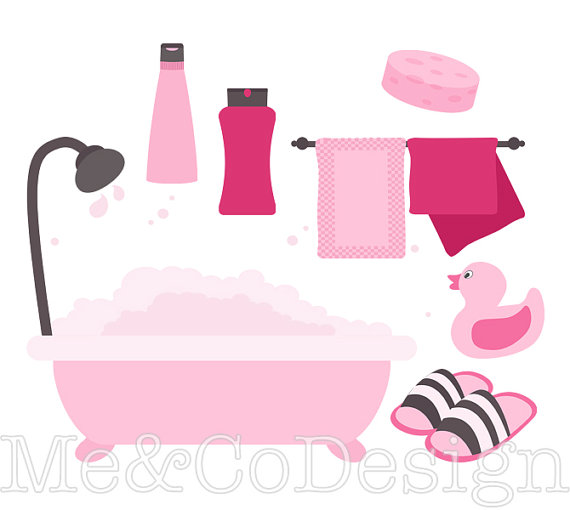 570x510 Pink Bathroom Clipart, Fun Pretty Clipart, Retro, Shampoo Instant