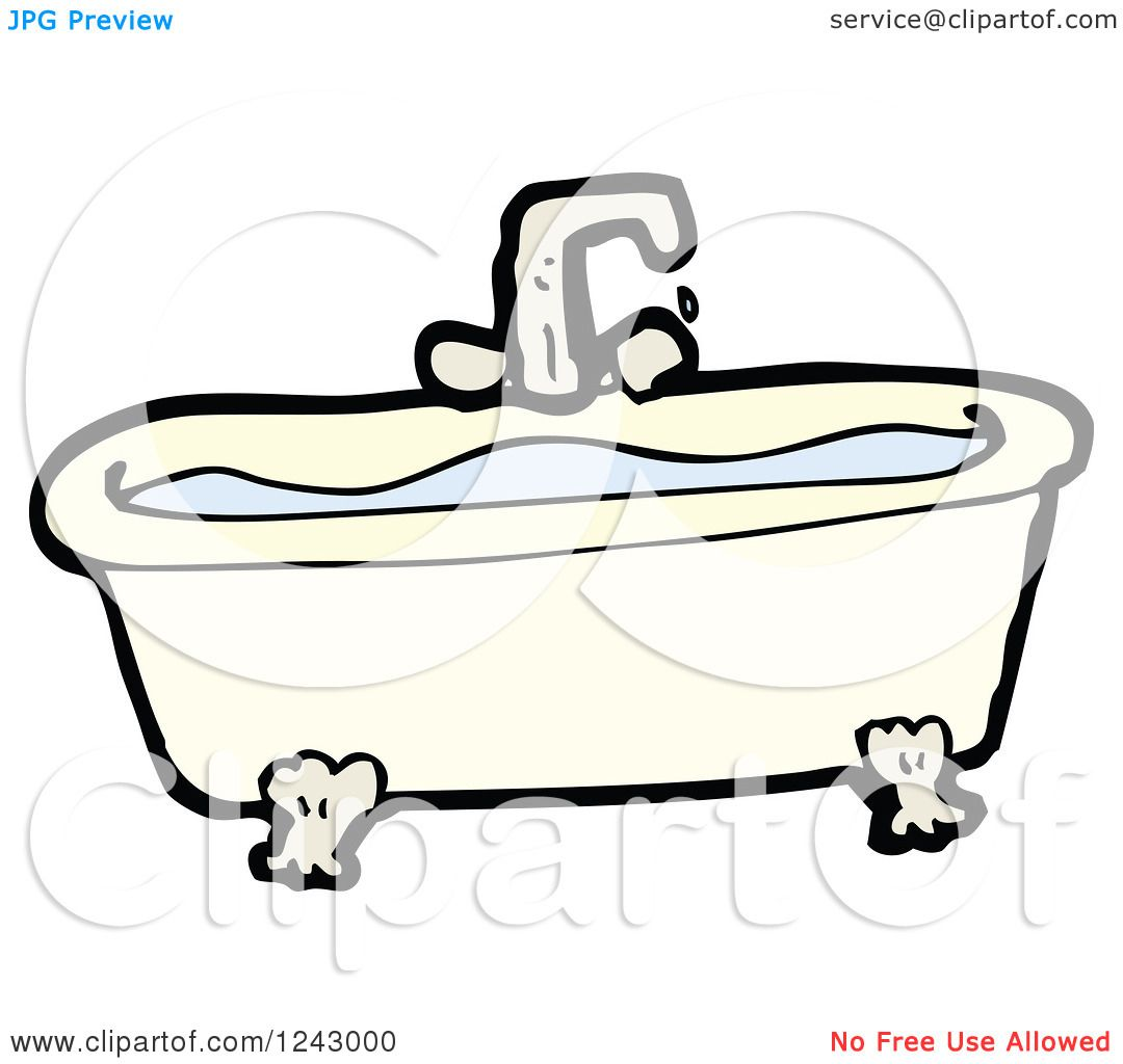 1080x1024 Clipart Of A Bath Tub Full Of Water