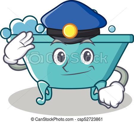 450x409 Police Bathtub Character Cartoon Style Vector Illustration Clip