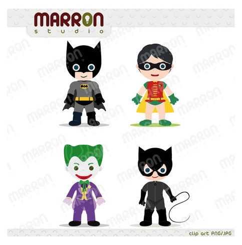 483x488 Marron Studio Super Heroe Inspired Set Batman, Robin, Joker