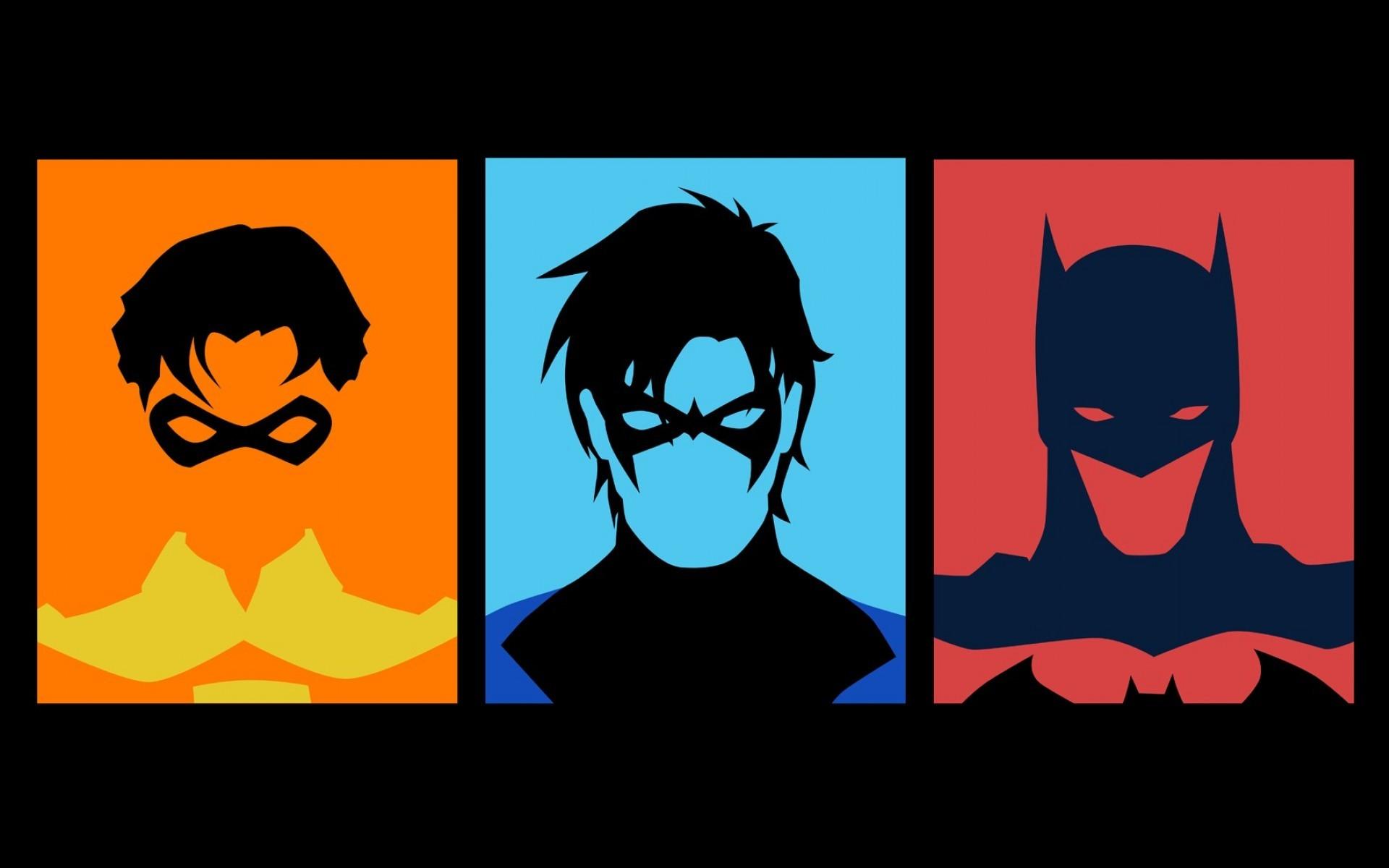1920x1200 Batman, Robin, Minimalistic, Dc Comics, Superheroes, Nightwing