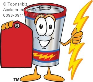 300x266 Clipart Cartoon Battery Holding A Red Price Tag