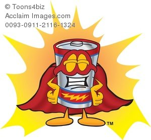 300x278 Clipart Cartoon Battery Super Hero
