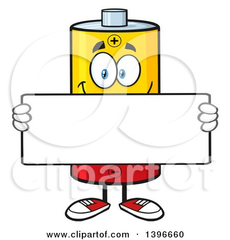 450x470 Clipart Of A Cartoon Battery Character Mascot Holding A Blank Sign