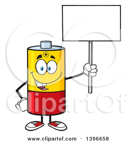 450x470 Clipart Of A Cartoon Battery Character Mascot Holding Up A Blank