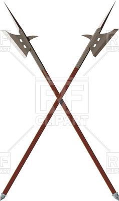237x400 Crossed Battle Halberds Royalty Free Vector Clip Art Image