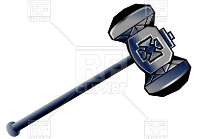 400x283 Dwarven Battle Hammer With Incrustation Royalty Free Vector Clip